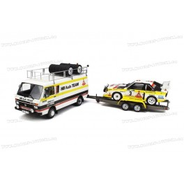 Rallye Set - Volkswagen LT45 with Trailer and Audi Sport Quattro S1 Nr.3 Gr.B Rallye Portugal 1986, OttO mobile 1/18 scale