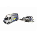 Rallye Set - Renault Master with Trailer and Renault Clio Maxi Nr.17 Rallye Tour de Corse 1995 model 1:18 OttO mobile OT289