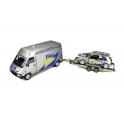 Rallye Set - Renault Master with Trailer and Renault Clio Maxi Nr.15 Rallye Monte Carlo 1995, OttO mobile 1/18 scale